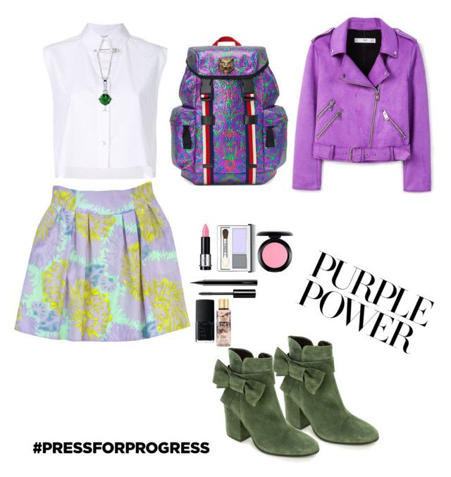 """""""Purple pleasure"""" by skylarmuffin on Polyvore featuring Helmut Lang, Nanette Lepore, MANGO, Summit, Gucci, BERRICLE, MAKE UP FOR EVER, Clinique, MAC Cosmetics and Chanel"""