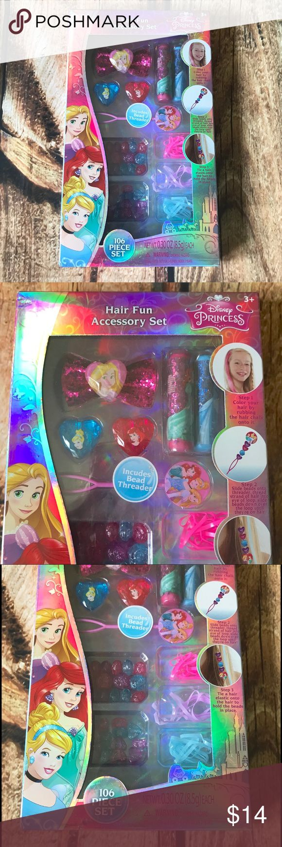 Disney Princess 106 Piece Hair Fun Accessory Set 🎁Disney Princess Hair Fun Accessory Set 🎁🎁 🎄🎄Christmas in July🎄🎄NWOT and includes 2 hair chalks (1 blue & 1 pink) 1 bow shaped hair tie, 50 hair elastics, 50 beads, 1 bead threader and 2 button gems. Smoke free home. Disney Accessories Hair Accessories