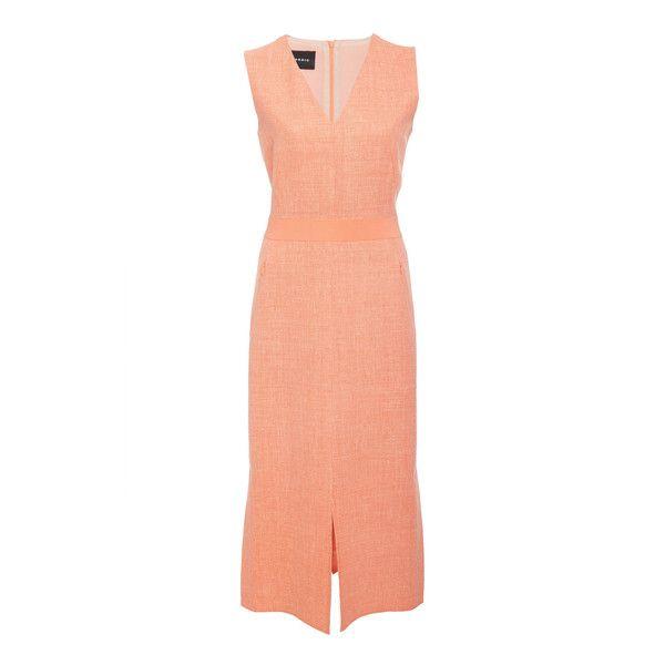 Akris Sleeveless Midi Dress ($1,990) ❤ liked on Polyvore featuring dresses, pink, red sheath dress, midi sheath dress, pink dress, sleeveless sheath dress and v neckline dress