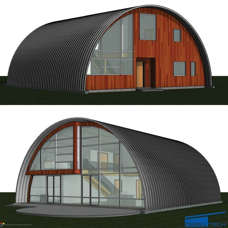 Best 100 quonset hut homes images on pinterest quonset for Curved roof house plans