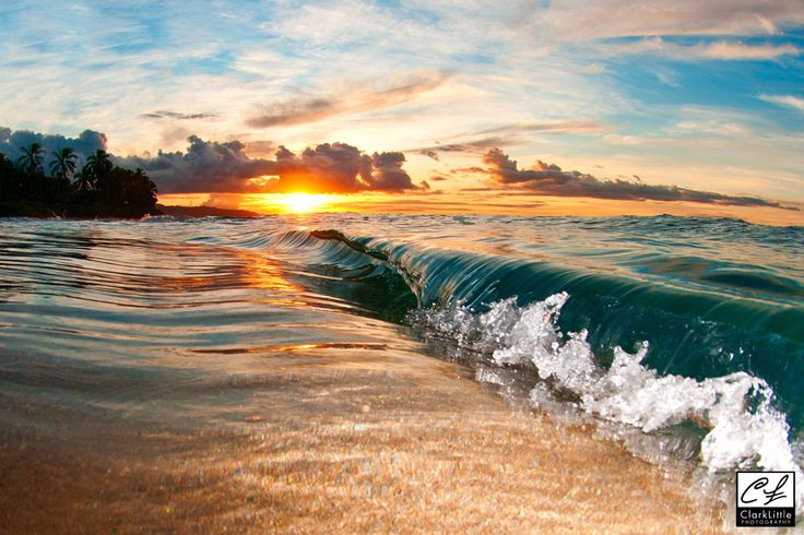 Sunset With Sea Wave Tap To See More Breathtaking Beach: Location: North Shore, Oahu, Hawaii Another Beautiful