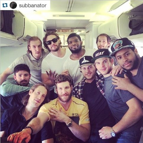 canadiensmtl #Repost @subbanator: Merci beaucoup! Thanks to everyone for the B Day wishes. Wouldn't spend this day with any other crew! @natebeaulieu @smithpelly @brandonprust8 @CP0031 @agally94