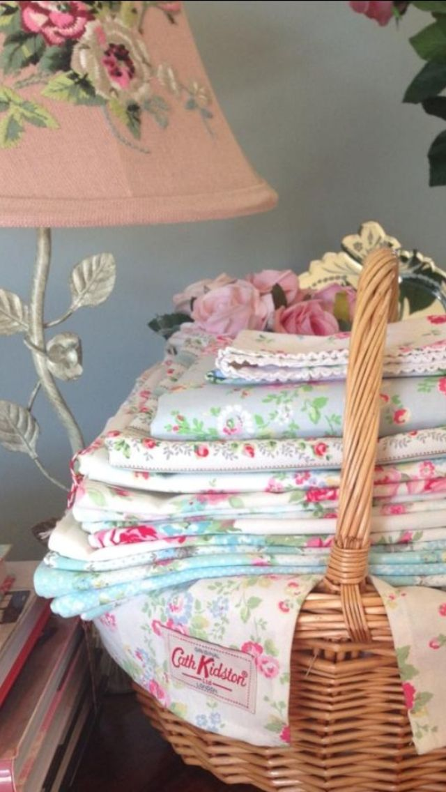 Cath Kidston + Greengate fabrics + Laura Ashley lamp  www.thevintageroom.info