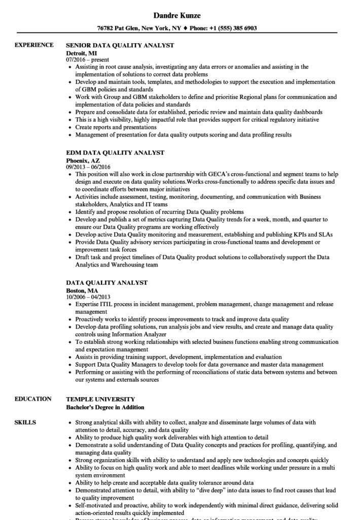 Data Quality Analyst Resume Samples Velvet Jobs Regarding Data Quality Assessment Report Templa In 2020 Project Manager Resume Teacher Resume Examples Manager Resume