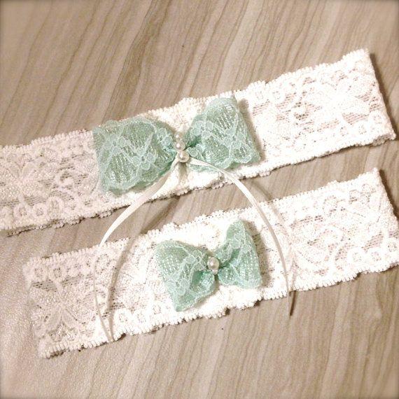 Bridal Garter Wedding Mint Blue Green Bow By LMcreation Etsy