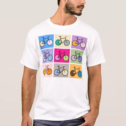Cycling t-shirt. Gekleurde fietsen. Zazzle.