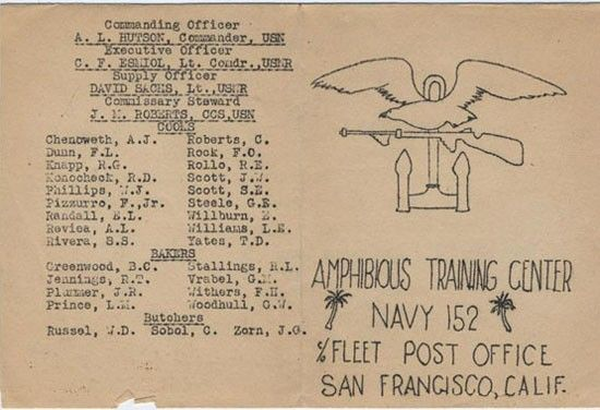 Amphibious Training Center, Tulagi, Solomon Islands, 1944. Located in Tulagi's Purvis Bay, which also sheltered a large U.S. Navy repair facility, the command provided training to forward-deployed forces. This very basic mimeographed document displays the amphibious forces' emblem. Despite the menu's modest appearance, the command proudly offered a true feast to its far-from-home Sailors. (US Naval History & Heritage Command)