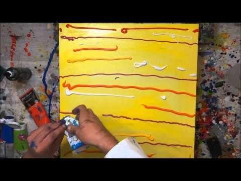▶ Tutorial Abstrakte Kunst (5) - Wir malen ein Bild - Acryl Spachtel-Technik - Painting Demo - YouTube