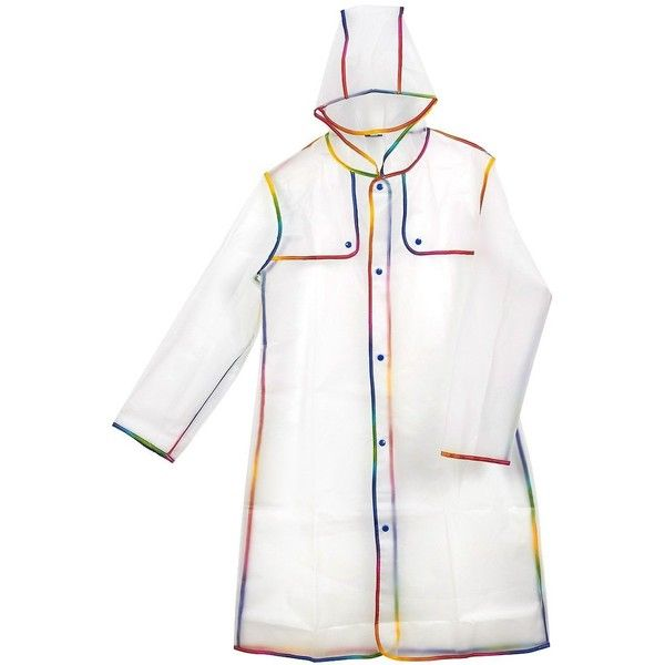 Portable Adult Rain Poncho Lightweight Raincoat for Adults, EVA... ($13) ❤ liked on Polyvore featuring style poncho, waterproof poncho, lightweight poncho, plastic poncho and white ponchos