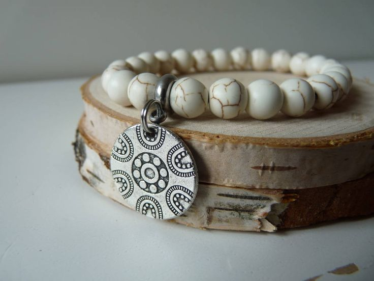 Howlite Bracelet, White Howlite Bracelet, Natural Howlite Bracelet, Chakra Bracelet, Meditation Bracelet, Beaded Mala bracelet with charm by nkcraftstudio on Etsy
