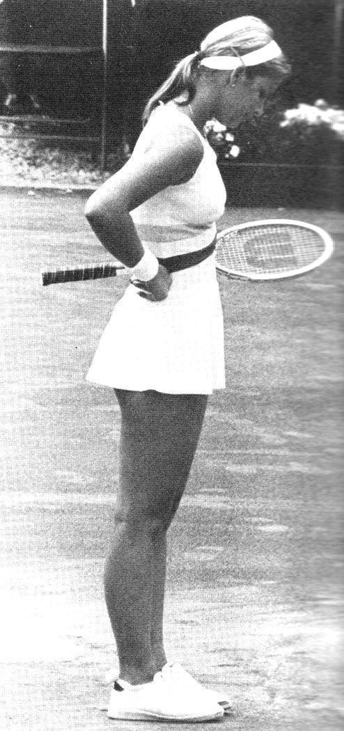 Chris Evert.  And a Wilson racquet of course.