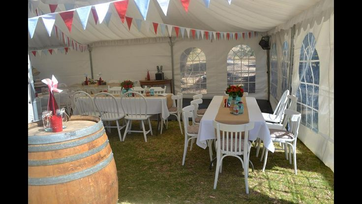 #bunting #weddingreception #marquee #vintagewedding #redblue #redbluewhite #winebarrels #balljars #masonjars