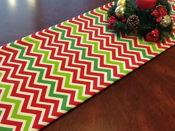 Table Runner - Christmas Red, Green, Natural Chevron Table Runners - Chevron Table Runners For Weddings or Home Decor - Select A Size by fourbugsinarug on Etsy
