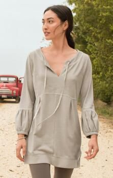 This French terry tunic shirt is stylish, versatile, and so easy to wear.