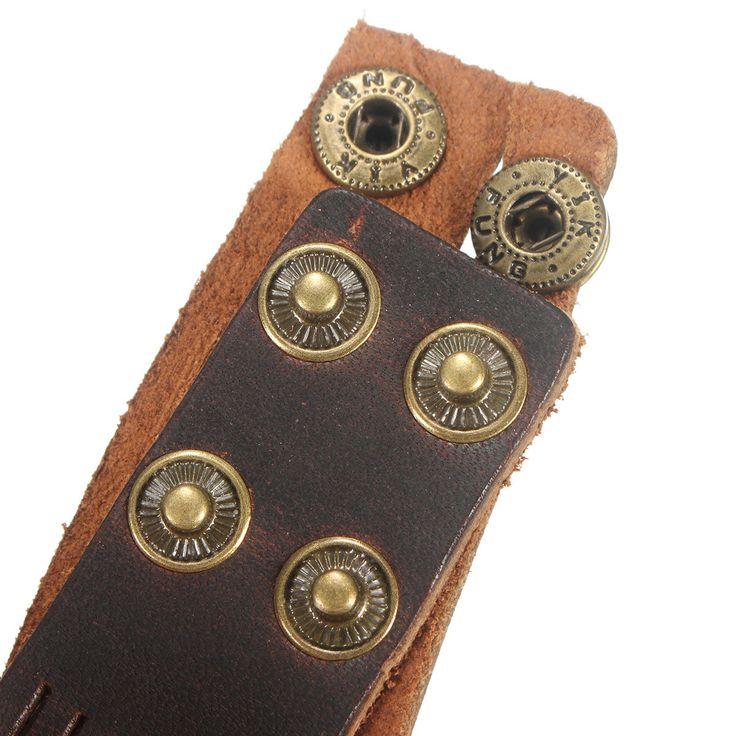 Punk Leather Beads Braided Wristband Bracelet