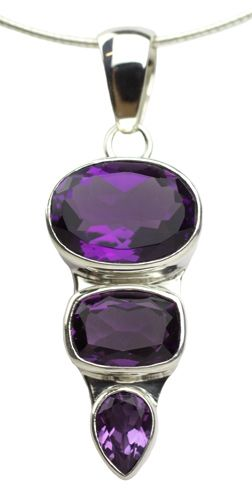 Amethyst Triple Drop Necklace