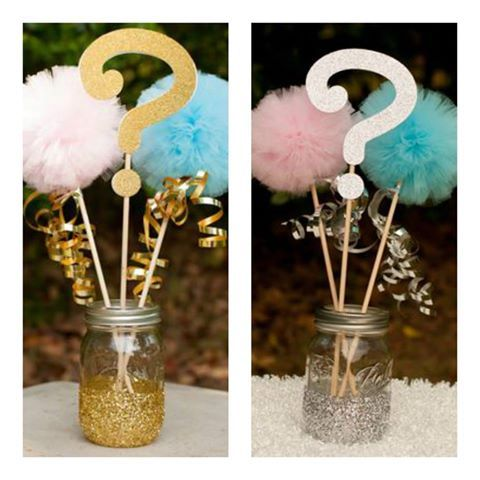 Silver or Gold? Get prepared to surprise your guests with these adorable gender reveal baby decor pieces for your party tables. #tablecenterpiece