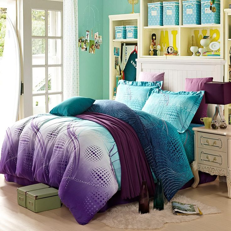 aqua teal and purple bright colorful polka dot design curve print exotic cool color abstract design brushed cotton full size bedding sets
