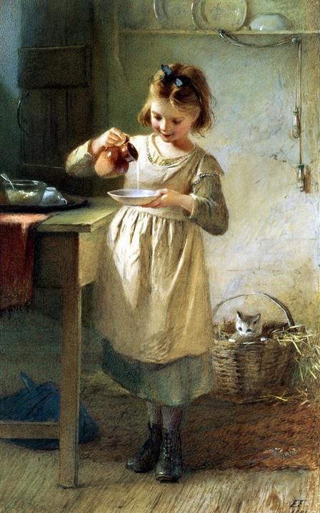 Emily Farmer (Inglaterra 1826-1905). Girl with Kitten.