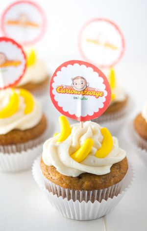 Curious George Banana Cupcakes Recipe - This Curious George inspired banana cupcakes recipe is so yummy and perfect for your little Curious George fan!
