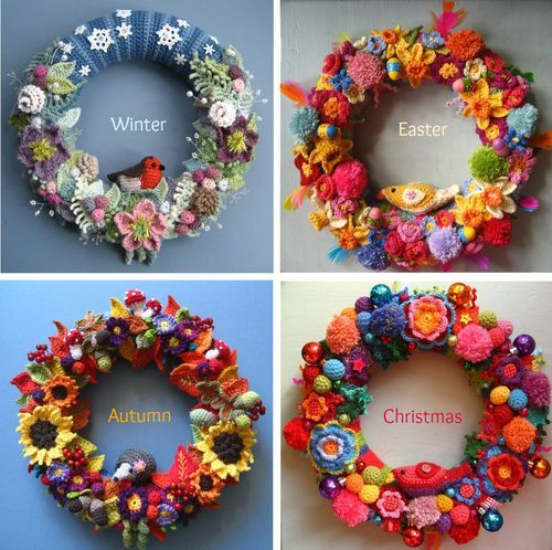 Season crochet wreath ideas