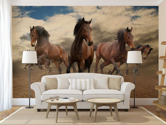 Horses WALL MURAL self adhesive peel and stick by ZestPhotography