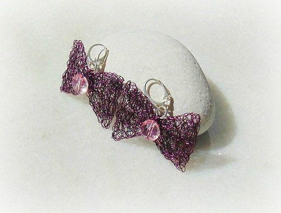 Wire crochet earrings bows earrings wire wire by styledonna