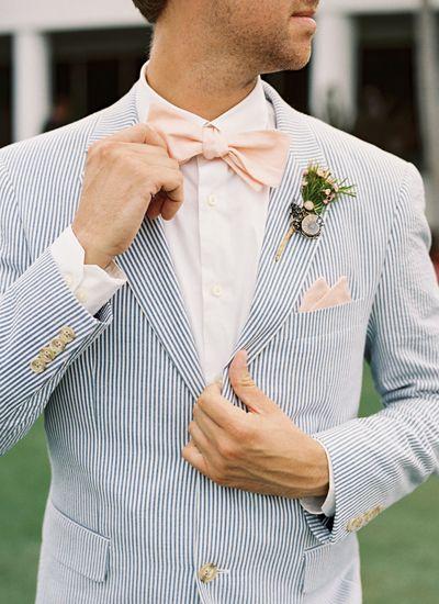 seersucker + pale pink bow tie | Kat Braman #wedding