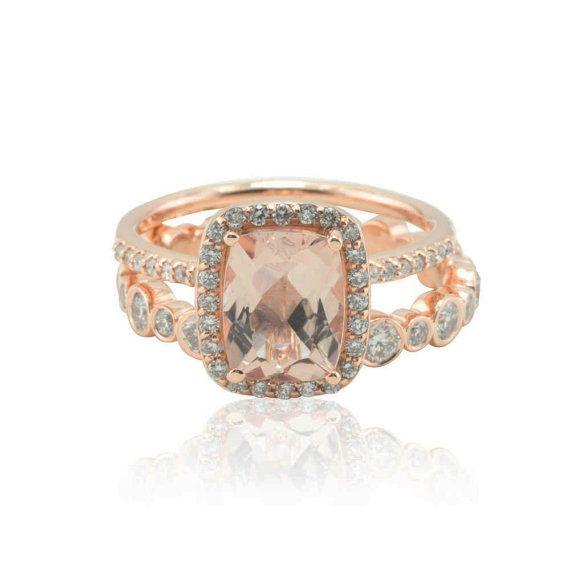 Morganite Ring Bezel Set Diamond Eternity by LaurieSarahDesigns