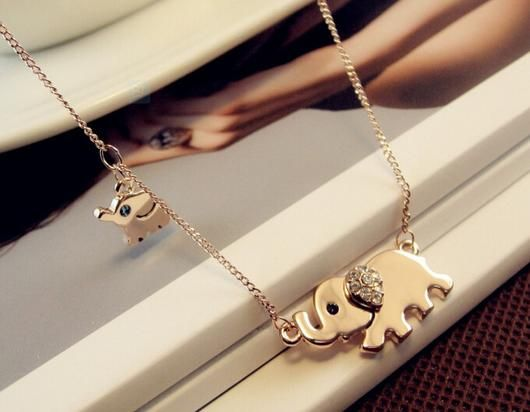 Gold Plated Elephant Family Necklace - Square Berry Co