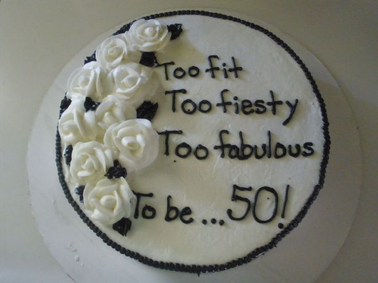 black and white 50th birthday cake - vanilla cake with bc frosting. i think i got the inspiration from another cake on here. i forgot. thanks for looking. uhh i hav had so many 50th birthday cakes this year!!!