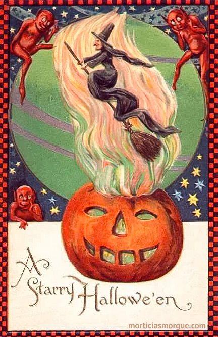 rare orange checkered border winsch freixas postcard of a witch vintage halloween cardshalloween signshalloween - Vintage Halloween Witches