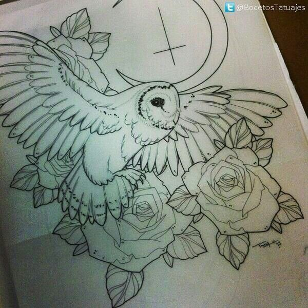 Owl, moon and roses tattoo design