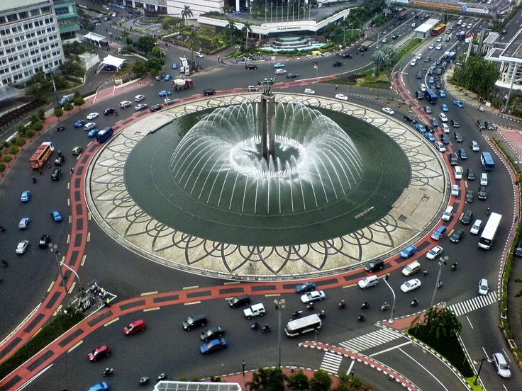 """Bundaran HI. Selamat Datang Monument (Selamat Datang is Indonesian for """"Welcome""""), also known as the Welcome Monument, is a monument located in Central Jakarta, Indonesia"""