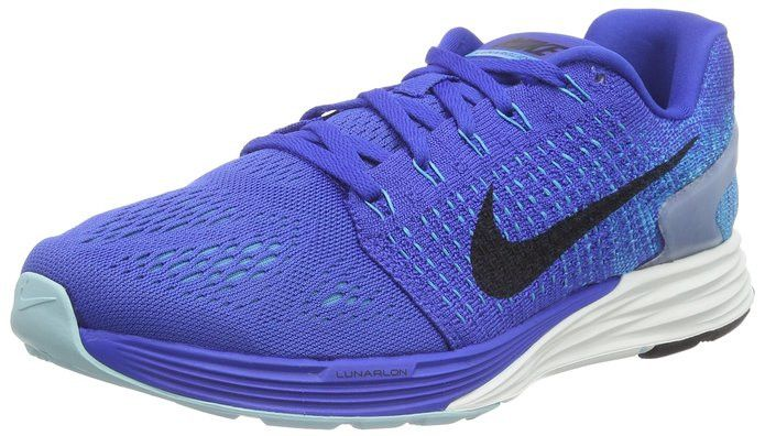 save off ee4dd 1ca23 ... Nike Men s Lunarglide 7 Game Royal Black Blue Lagoon Running Shoe  747355 401 ...