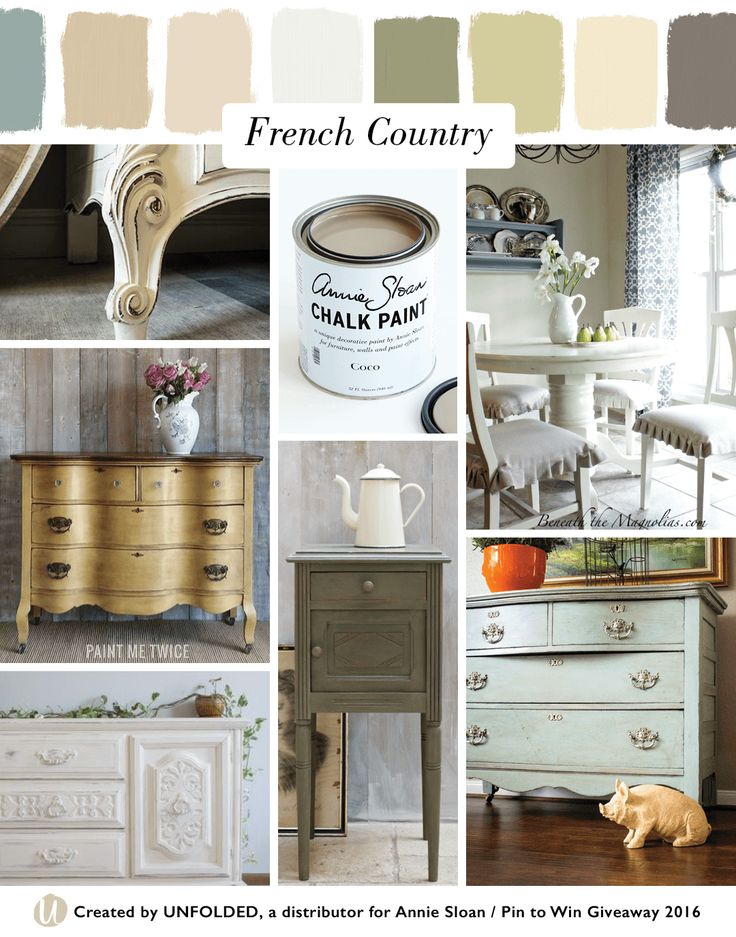 French Country Style Moodboard | Left top: Old White Chalk Paint® by Portilla Design, Left middle: Arles Chalk Paint® by Paint Me Twice,  Left bottom: Old White Chalk Paint® by Offbeat + Inspired, Center top: Chalk Paint® decorative paint by Annie Sloan in Coco, Center bottom: Olive Chalk Paint® by Annie Sloan, Right top: Old White Chalk Paint® by Beneath the Magnolias, Right bottom: Duck Egg Blue Chalk Paint® by Portilla Design