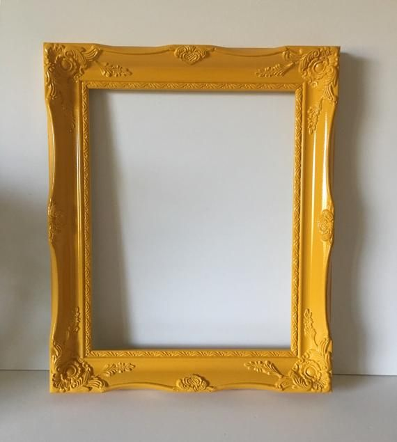 Mustard Yellow Picture Frame With Glass And Back 11x14 Etsy Yellow Picture Frames Wall Frame Set Picture Frames