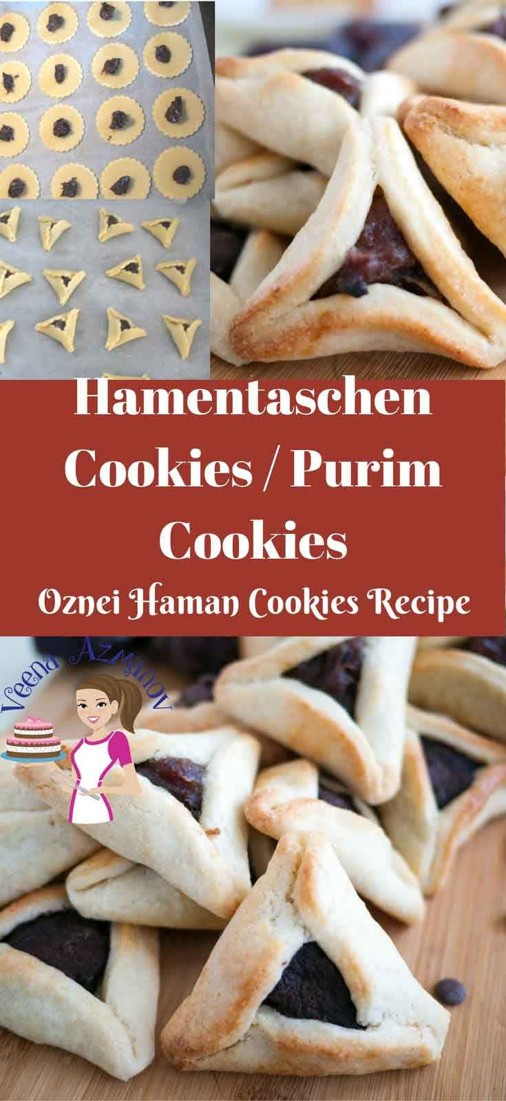 These Purim cookies are a special treat during the Jewish Purim festival with hundreds of choices for fillings from traditional poppy seed and dates to modern chocolate, dulce de leche and more. This simple, easy and effortless recipe uses shortcrust cookie dough as a base with easy to follow folding instructions to get the perfect Hamentaschen cookies. #Purim #cookies #hamentaschen #Oznie #haman #jewish #cooking #baking #recipe