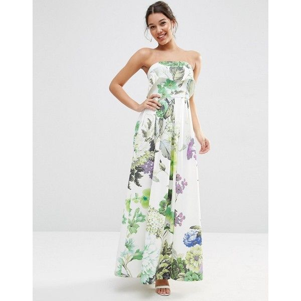 ASOS Crop Top Scuba Floral Bandeau Maxi Dress ($38) ❤ liked on Polyvore featuring dresses, multi, asos dresses, tall maxi dresses, flower print dress, flutter-sleeve dress and floral print maxi dress