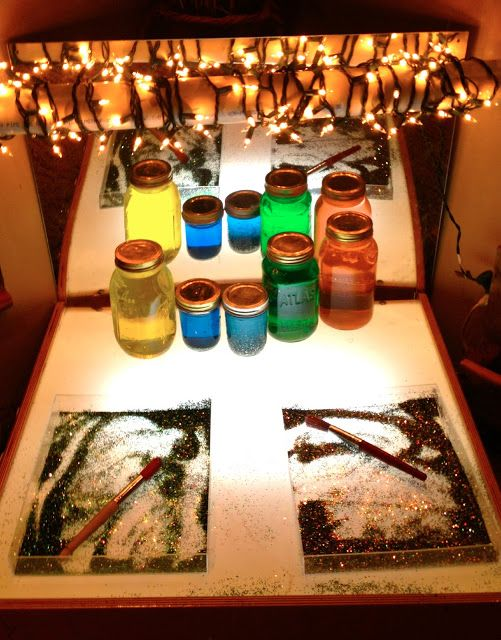 Fairy Dust Teaching Kindergarten Blog: Reggio Emilia: Color Mirror in front of the light table
