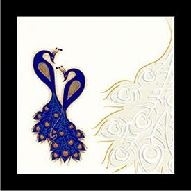 Interfaith Wedding Cards MF2262 - This elegant peacock theme invitation is made from finest quality Ivory Cream Texture paper board. Card front is covered with 2 peacock in royal blue color designer imprints, beautiful peacock design with inserts inside & envelope are with same theme composition.