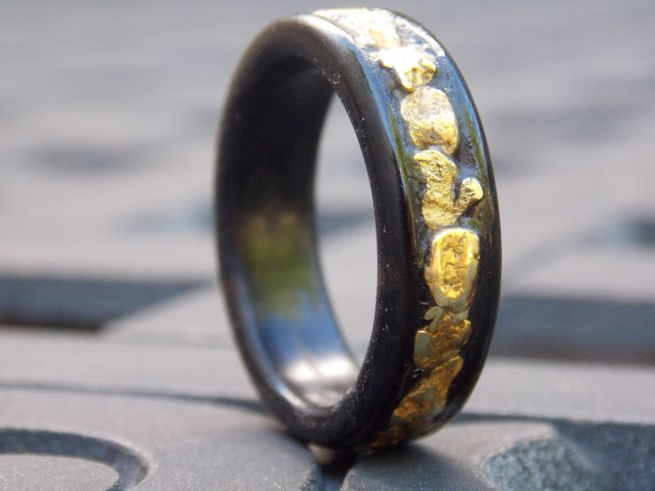 Natural Gold Nuggets on Black Ebony wood ring size 11 1/2 by SnowDaysInn on Etsy