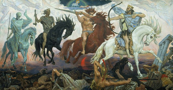 Four Horsemen of the Apocalypse, an 1887 painting by Victor Vasnetsov. The Lamb is visible at the top.