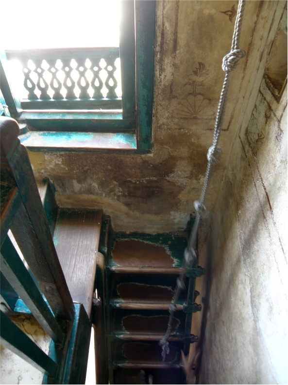 Old stairs in a typical home in Porbandar