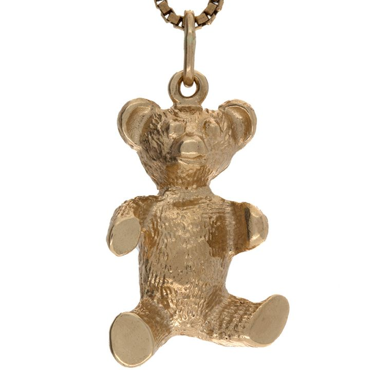 10K yellow gold teddy bear pendant. Well-made with detailed accents and a high polish finish. Secured by a sturdy bale and nice weight, You'll love the way it looks and the attention it receives!