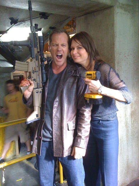 Kiefer Sutherland and Mary Lynn Rajskub behind the scenes; Season 8