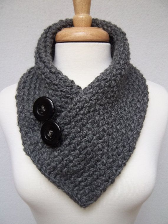 Knitted Scarf , Gray , Cowl Neck Warmer , Buttoned Scarflette Acrylics, Tes...
