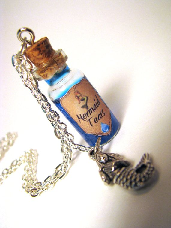 """corked bottle of blue glittery mermaid tears & silver mermaid charm necklace with 24"""" silver chain"""