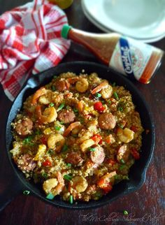 Jambalaya with White Quinoa  combines a delightfully slightly spicy andouille sausage, Gulf shrimp, onions, green bell peppers, sweet red bell peppers, celery, tomatoes, chicken stock, and C...