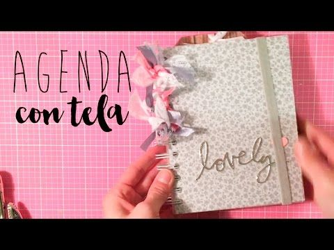 tapizando una agenda con un pedacito de tela TUTORIAL